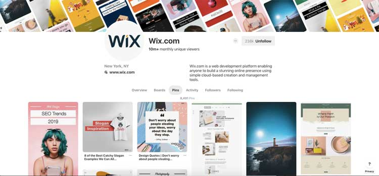Pinterest account of Wix