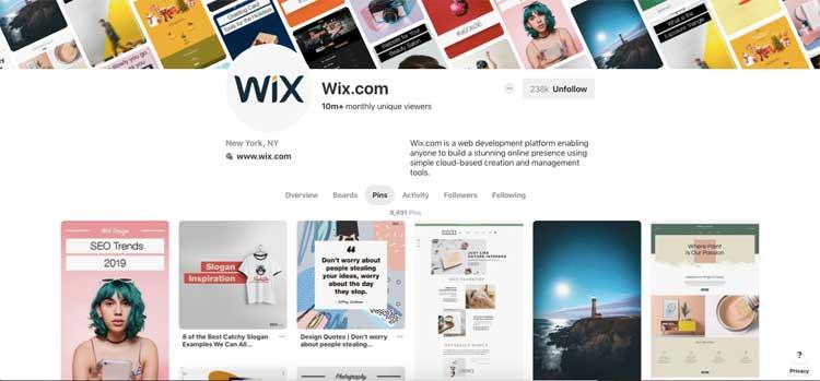 Pinterest account of Wix